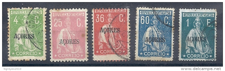 140020258  AZORES  PORTUGAL  YVERT  Nº   164/184/187/190/206  USED/MH - Azores
