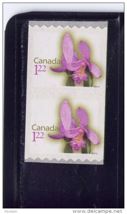 CANADA 2010, # 2359 DEFINITIVES: FLOWERS:ROSE BEGONIA,   Pair Of  Oversized RATE(1.22) STAMP  , M NH - Roulettes