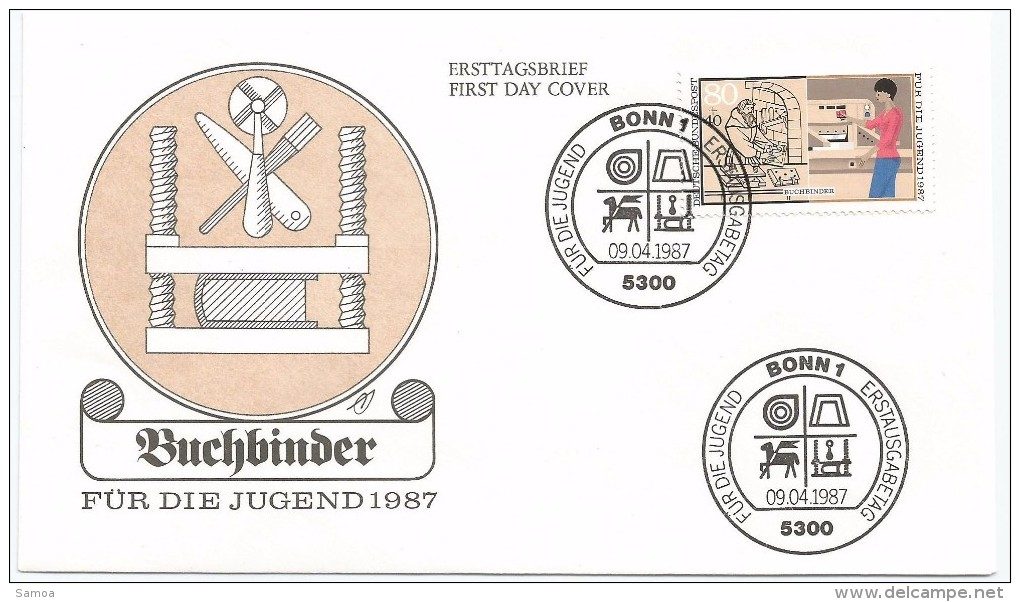 Allemagne RFA 1987 1150 FDC Artisanat Relieur Livres - Profesiones