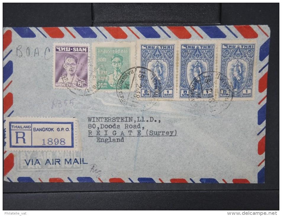 SIAM-Enveloppe En Recommandée De Bangkok  Pour Reigate    Par Avion  En 1948   à Voir  P5216 - Siam