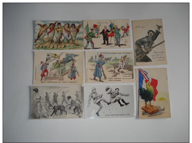 Beau Lot De  34 Cpa Theme Patriotique Et Satyriques , Avec Illustrateurs..caricatures Militaires - Patriotiques