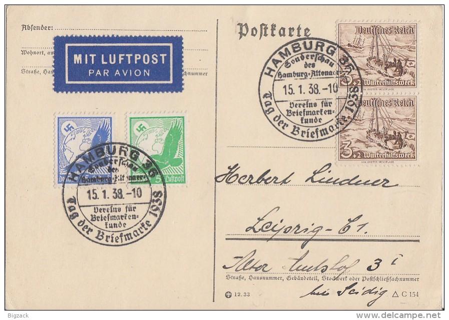 DR Karte Luftpost Mif Minr.529,531,2x 651 SST Hamburg 15.1.38 Tag Der Briefmarke - Deutschland