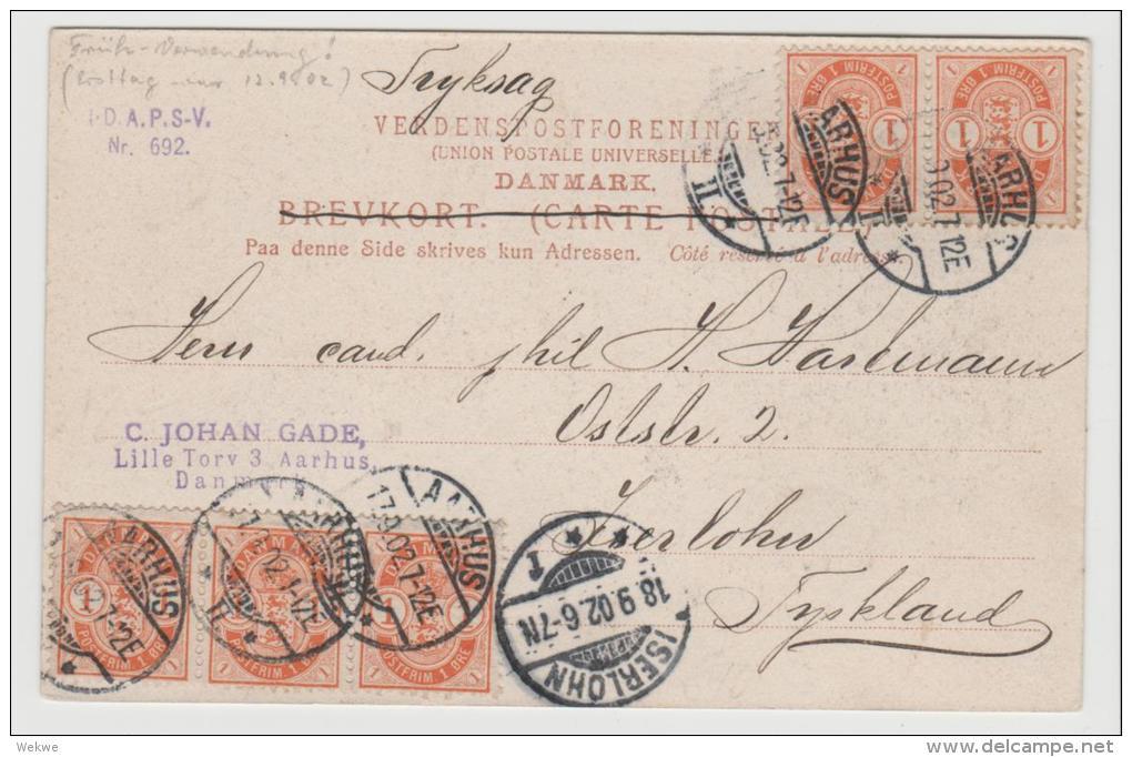 DK-C9024/ Mehrfachfrakatur Auf AK Aarhus 17.9.02 Nach Deutschland - 1864-04 (Christian IX)