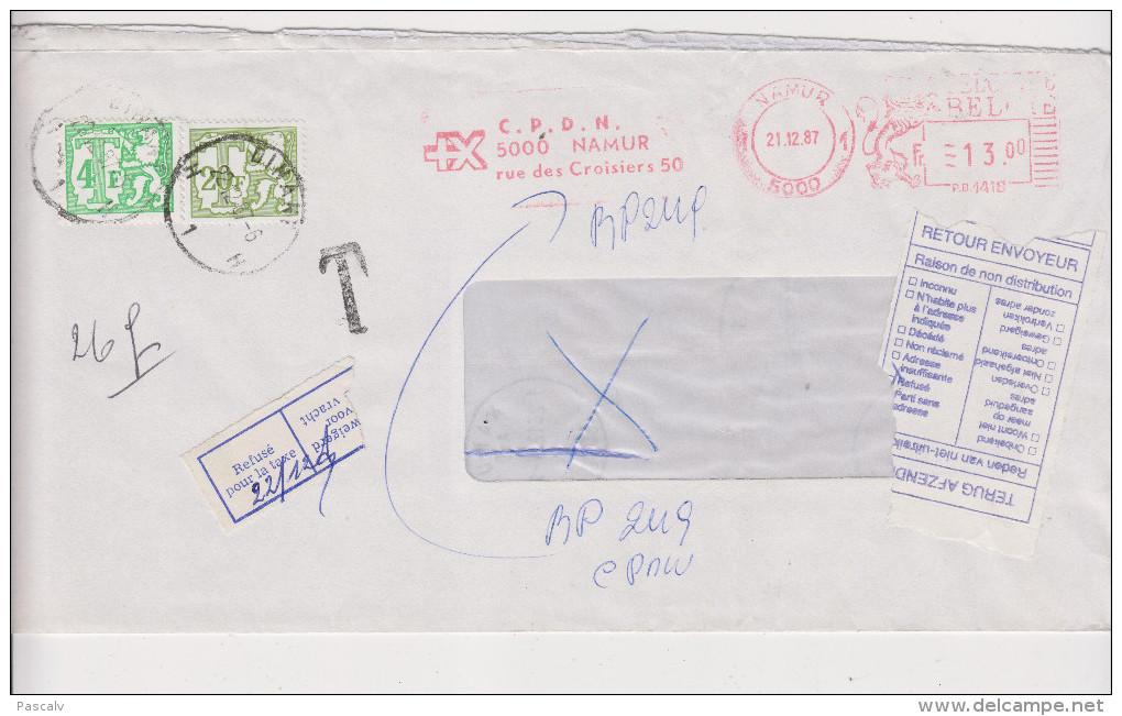Pli De 1987 Refusé Pour La Taxe à Payer Et Retourné à L'expéditeur - Belgien