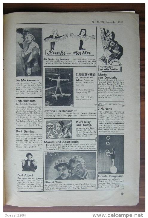 Circus Magazine Fachzeitschrift Für Varieté, Kabarett Und Zirkus Deutschland 1942 Year - Deutsch
