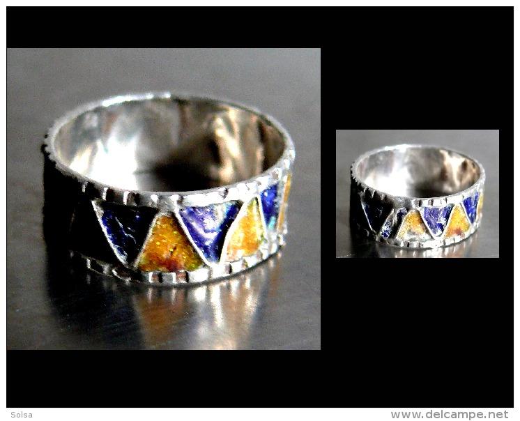 Ancien   Bague Anneau émaillée Du Maroc T58 / Old Enammelled Silver Ring From Morroco - Art Africain