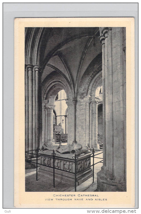 Angleterre-  CHICHESTER CATHEDRAL View Throught Nave And Aisles-Editions RAPHAEL TUCK And Sons Ltd *PRIX FIXE - Chichester