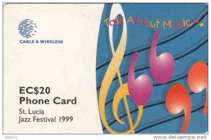 ST.LUCIA ISL.(GPT) - Jazz Festival 1999, CN : 288CSLB, Tirage 20000, Used - Santa Lucía