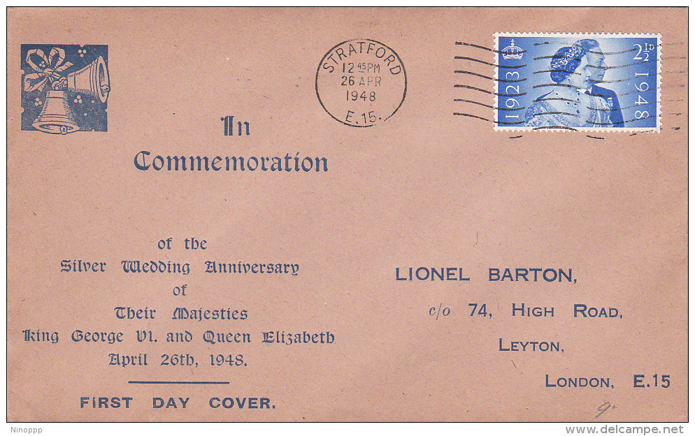 Great Britain 1948 Royal Wedding Silver Jubilee FDC - FDC