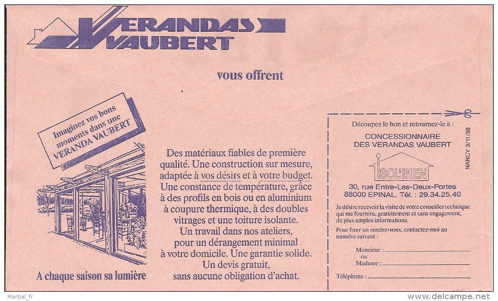 ENTIER POSTAL DE SERVICE CCP STATIONERY GANZSACHE GS FRANCE 1988 VERRE VERANDA FENETRE BOIS ALUMINIUM VAUBERT EPINAL - Vetri & Vetrate