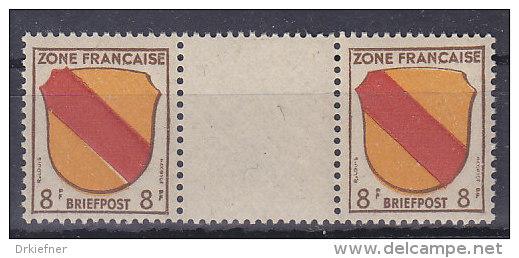 AllBes FranzZone 4 ZW, Postfrisch **, Zwischenstegpaar - Französische Zone