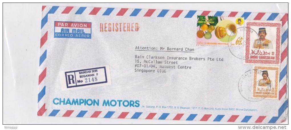 Brunei 1991 Registered Cover To Singapore - Brunei (1984-...)