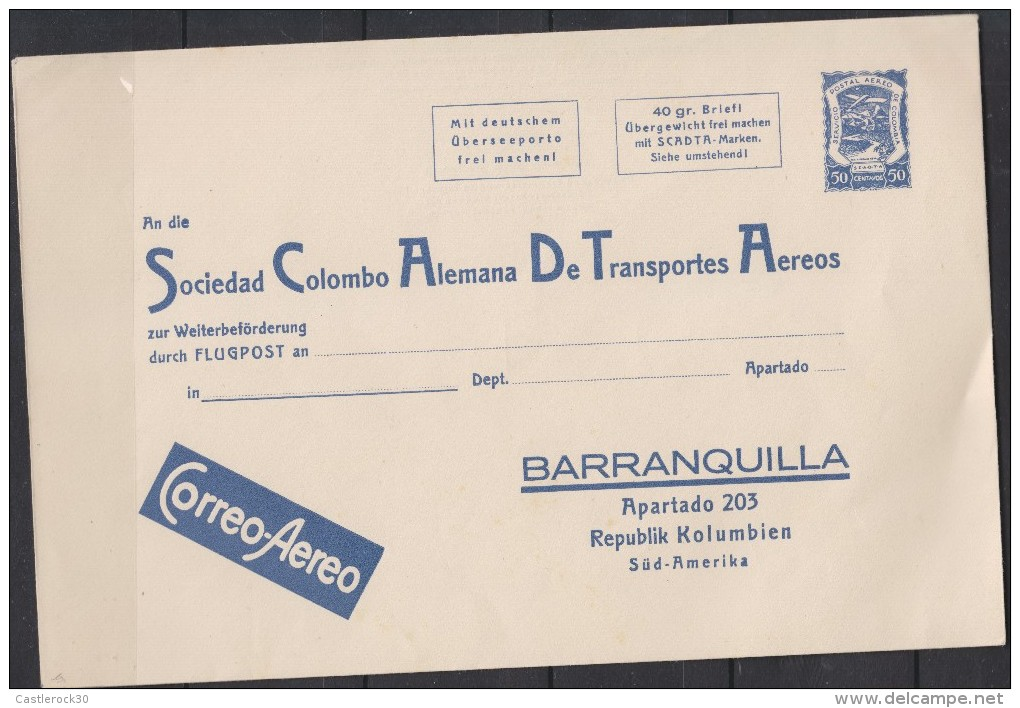 O) 1940 COLOMBIA, POSTAL STATIONARY SCADTA PRISTINE CONDITION, BIG FORMAT, RARE IN THIS CONDITION XF - Colombie