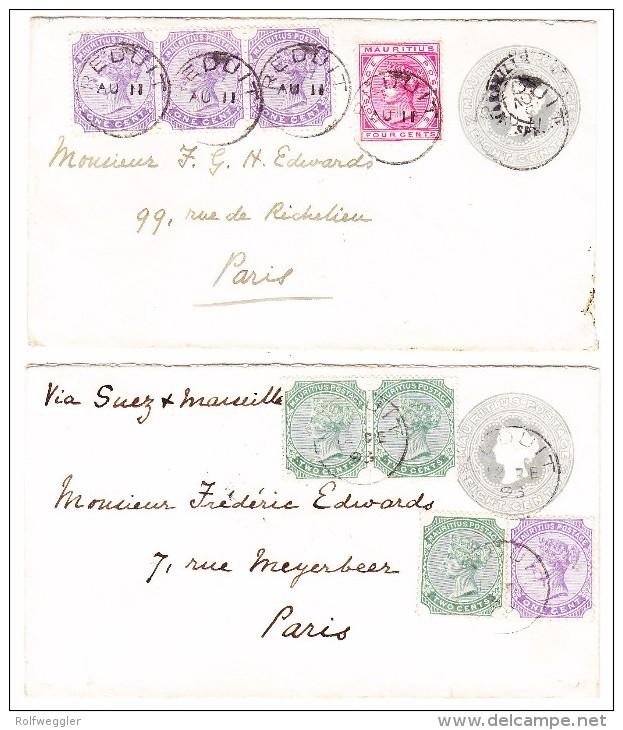Mauritius Lot Von 2 Ganzsachen 8 C. Grau Mit Zusatzfrankatur Mi. 101+103+105 Beide Nach Paris Gesendet - Maurice (...-1967)