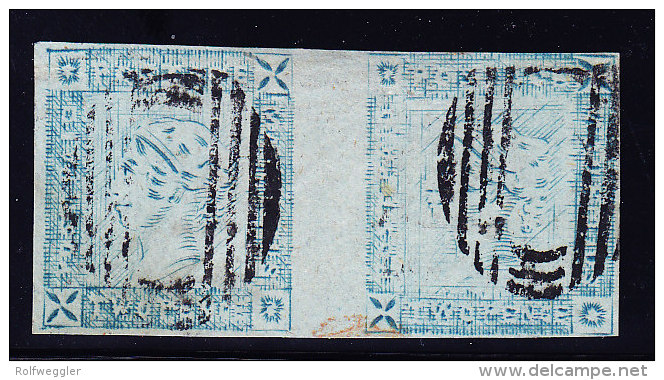 Mauritius 1859 SG#39 Lapirot 2 D. Blau Auf Graues Papier Waagrechtes Paar Gestempelt - Maurice (...-1967)