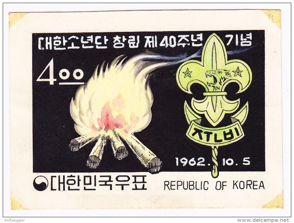 Korea-Süd 1962 Farbige Künstlerzeichnung Essay Nicht Verausgabte  Marke 55 Jahre Pfadfinder Mit Lilie Und Lagerfeuer - Scoutisme