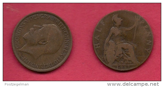 UK, 1917, Very Fine Used Coin, 1/2 Penny, George V, Bronze,  , KM 809,  C2218 - 1902-1971 : Post-Victorian Coins