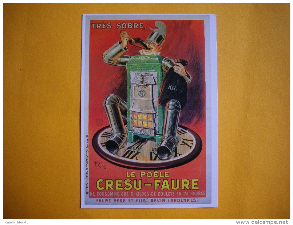 Cpm PUBLICITAIRE  -  Affiche  De Henry Le Monnier  -  Le Poële CRESU FAURE  -  Art Ménager - Illustrateurs & Photographes
