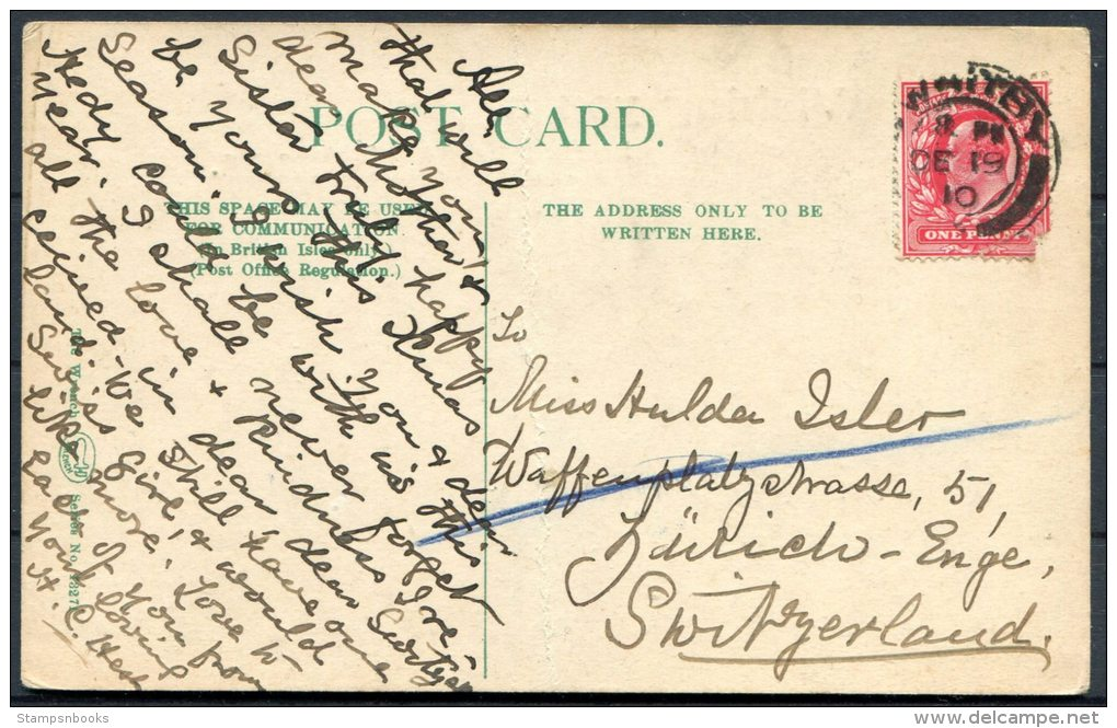 1910 Whitby Harbour 'Wishing You A Merry Christmas' Postcard - Switzerland - Whitby