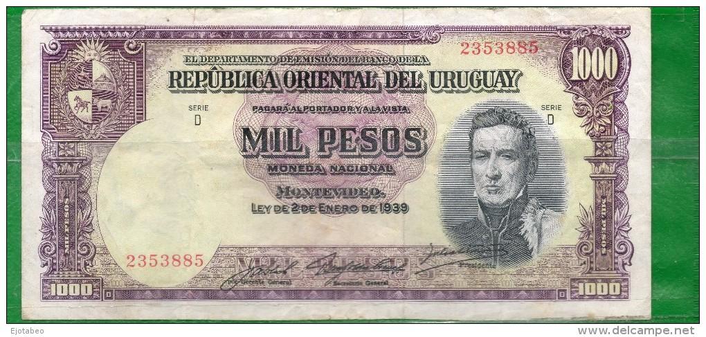 5 URUGUAY -Emitidos Desde 1939 A 1966- Bill. Nº 40-Bco. República O.del Uruguay-1 Bill. De 1000 - Uruguay