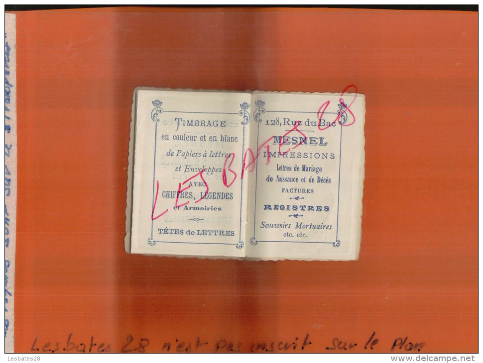 "PETIT CALENDRIER BIJOU 1905  ""Dessus Chromo "" PAPETERIE  LIBRAIRIE  MESNEL  PARIS   BEL ETAT""   MAI  2015  SAL 1273 - Calendriers"