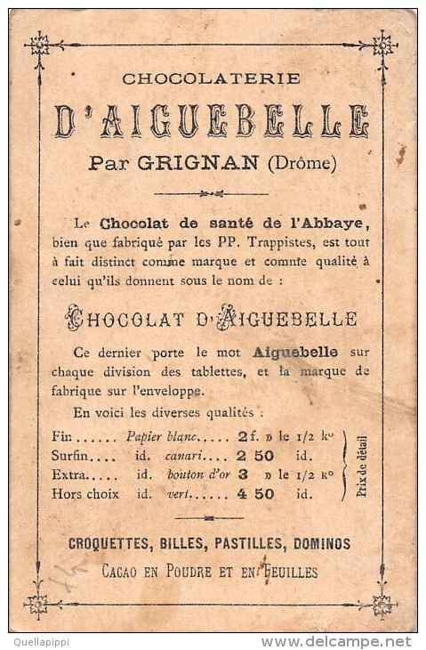 "01649 ""CHOCOLATERIE D'AIGUEBELLE""  ETICHETTA ORIGINALE, GHIRONDA, MARMOTTA - ORGINAL LABEL - Cioccolato"