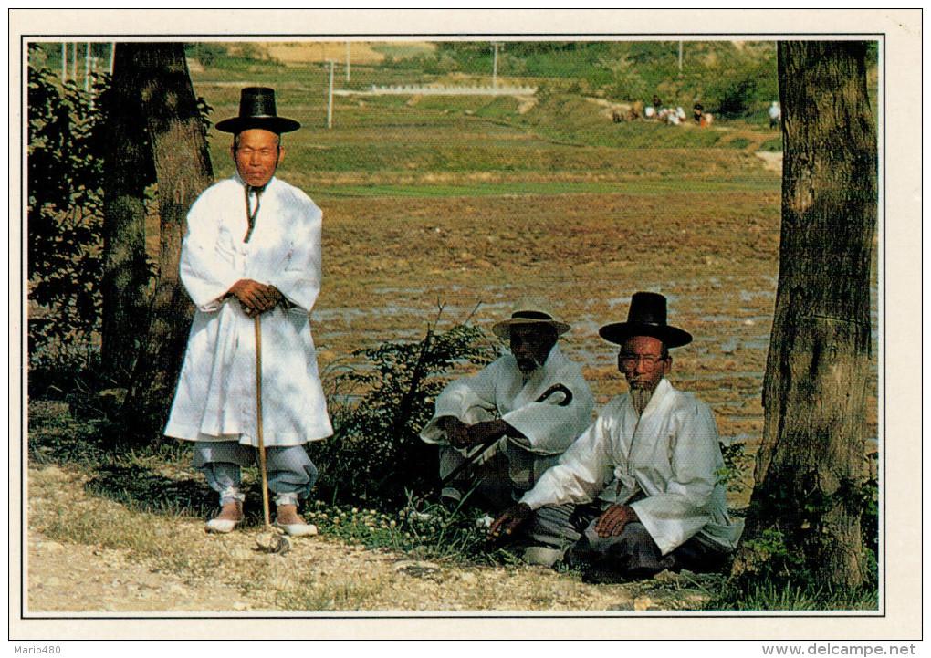 COREA DEL SUD  COREANI SULLA STRADA DI YANG-YANG   (NUOVA CON DESCRIZIONE DEL SITO SUL RETRO) - Corea Del Sud