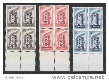 Europa Cept 1956 Luxemburg 3v Bl Of 4 ** Mnh (22028) - Europa-CEPT