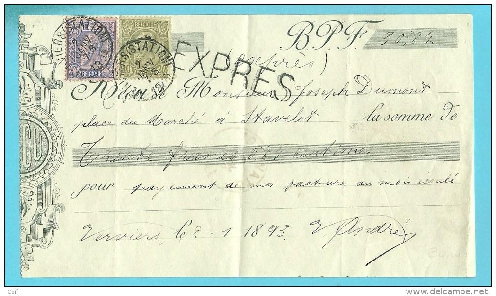 47+48 Op RECU Met Stempel VERVIERS (STATION) Per EXPRES !!!!!!!!!!(Rare-Rare) (25c-> Expres) !!!! (unique) !!! - 1884-1891 Léopold II