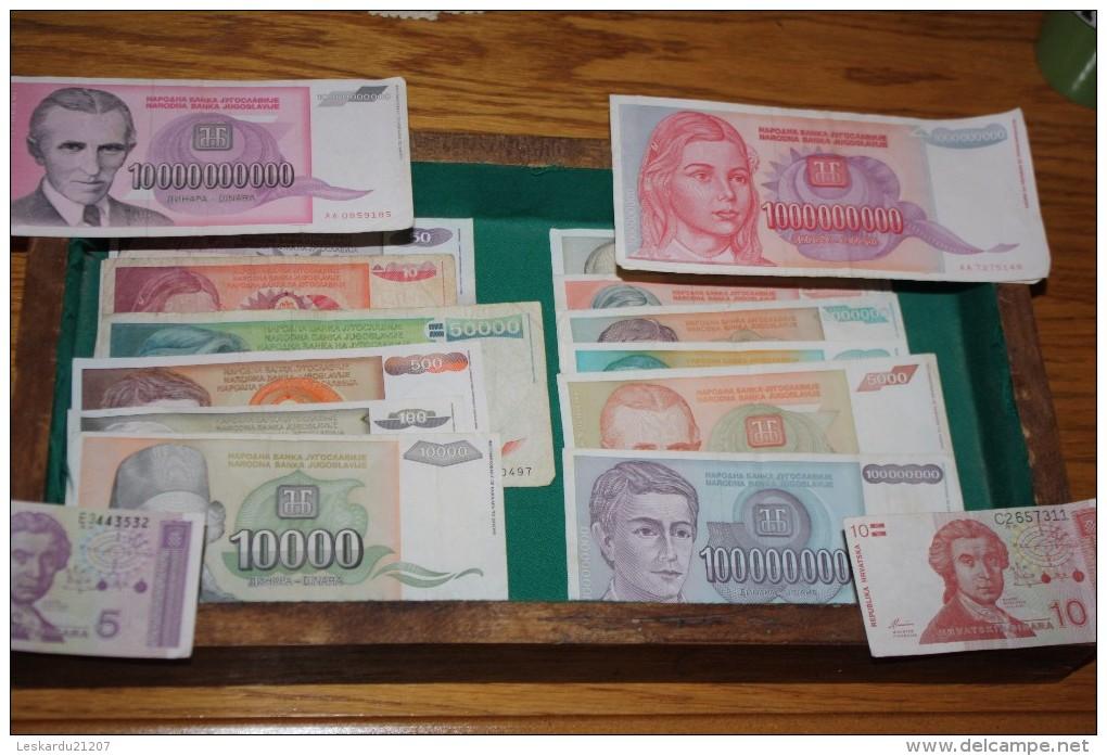 LOT EXCEPTIONNEL DE 21 BILLETS DES BALKAN DE 1990 A 1993 - Monnaies & Billets