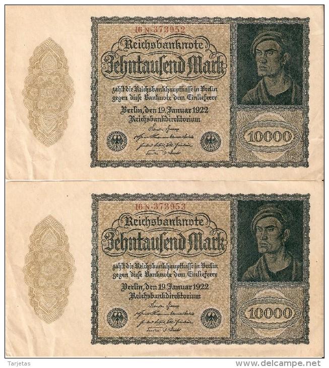 PAREJA CORRELATIVA DE ALEMANIA DE 10000 MARK DEL AÑO 1922 EN CALIDAD EBC (XF)(BANKNOTE) - [ 3] 1918-1933 : República De Weimar