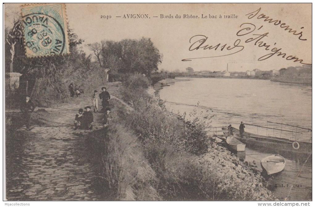 Cpa 84 AVIGNON Bords Du Rhône-le Bac à Traille-c727 Belle Animation-enfants-bâteaux Envoyée En 1905 - Avignon