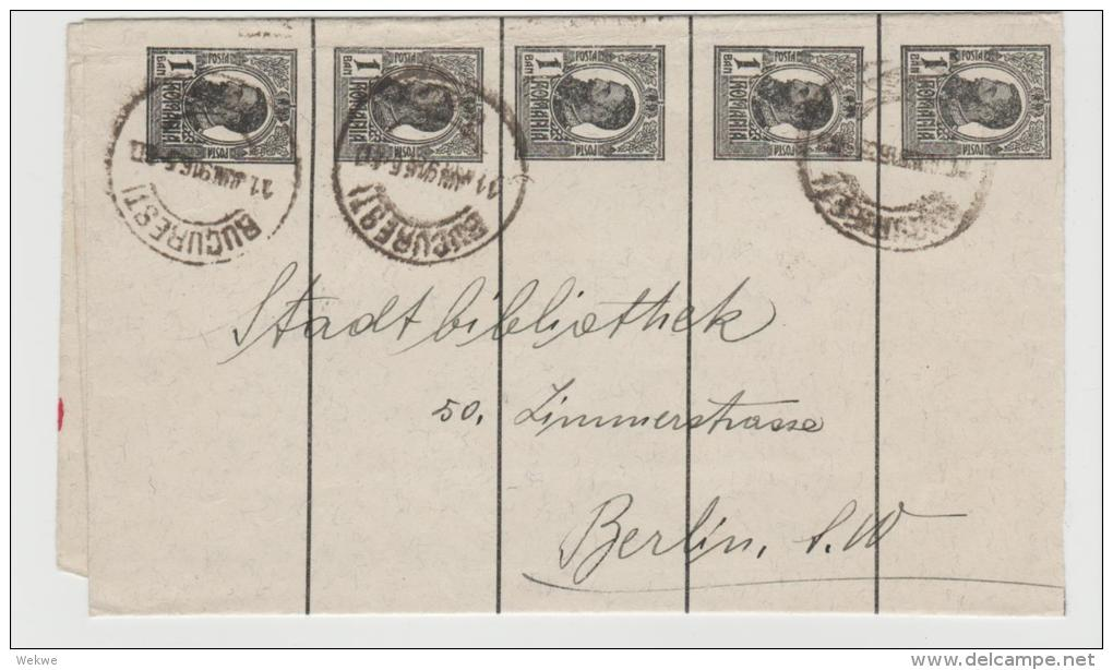 Rum093  /- RUMÄNIEN - Streifband (wrapper) 1916. Bukarest - Berlin Mit 4 X1 Bani - 1881-1918: Charles I