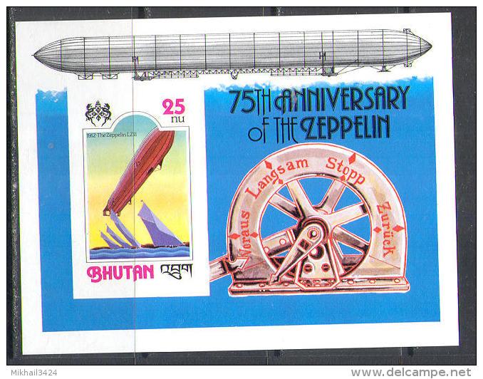 M1377 Aviation Zeppeline 1978 Bhutan S/s MNH ** Imperf Imp - Zeppelins