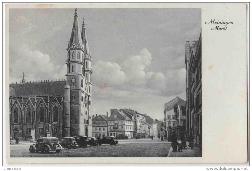 Shmalkalden. Meiningen Markt Und Kirche. Mit Alte Autos. Nicht Gesehen Auf Delcampe.  Mit Briefmarke. 2 Scans - Schmalkalden