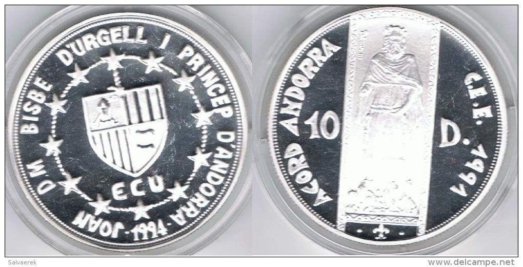 ANDORRA 10 DINEROS CEE 1994 PLATA SILVER - Andorra