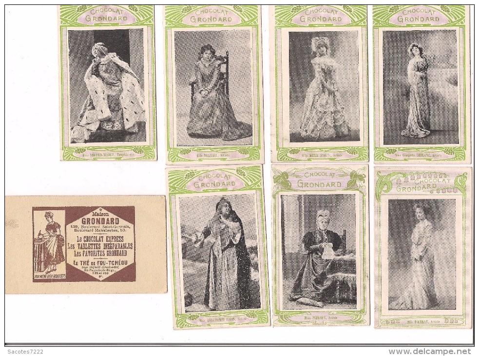 7 CHROMO CHOCOLAT GRONDARD -FEMMES ARTISTES : PIERSON DELVAIR SECOND WEBER PIERRAT  MITZI..... - Chocolat