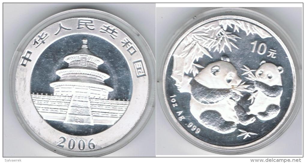 CHINA 10 YUANG  OUNCE  PANDA 2006 PLATA SILVER - Chine