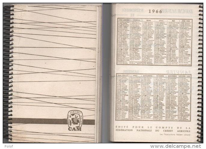 Agenda Avec Calendrier 1966 - Caisse De Crédit Agricole Des Bouches Du Rhone (Liste Des   Succursales)  (78474) - Petit Format : 1961-70
