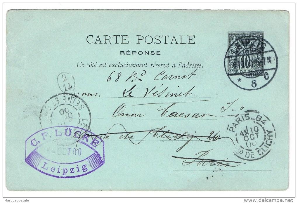 E1. Type Sage. EP. CP/RP Partie Réponse De Leipzig 8.10.00. Paris + Le Vesinet + Facteur De Distribution 2/14 - Entiers Postaux