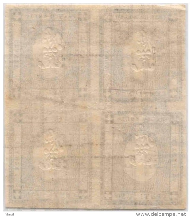 SI53D Italia Sardegna 1861 1 C. - Cifra In Rilievo Fr. Per Le Stampe  Quartina Doppia Stampa Unificato TR1m - Sardegna