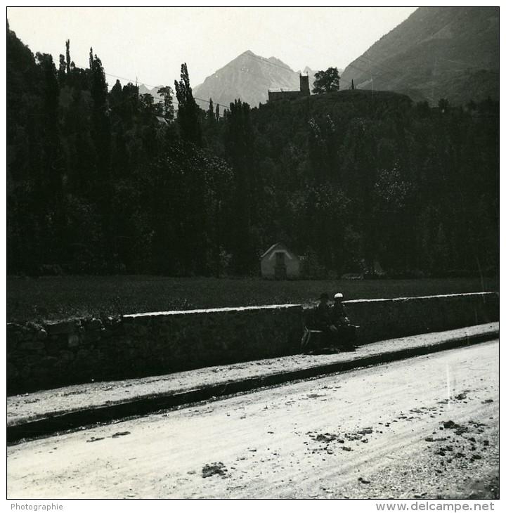 France Pyrenees Route De Luz A St Sauveur Chapelle Solferino Ancienne Stereo Photo Possemiers 1910 - Stereoscopic