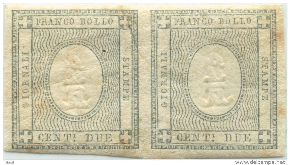 SI53D Italia Sardegna 1861 2 C. - Coppia Con Cifra In Rilievo Fr. Per Le Stampe  ERRORE Di CIFRA 1  Unificato TR2g - Sardegna