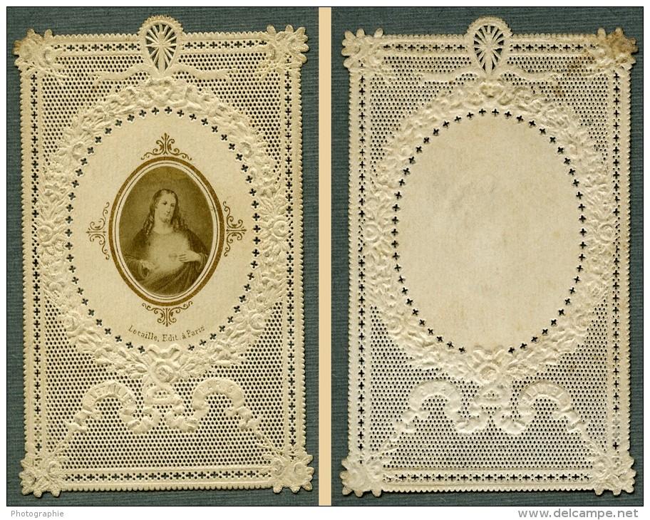 France Religion Image Pieuse Canivet Jesus Photo Albumine Sur Papier Dentelle 1870's - Images Religieuses