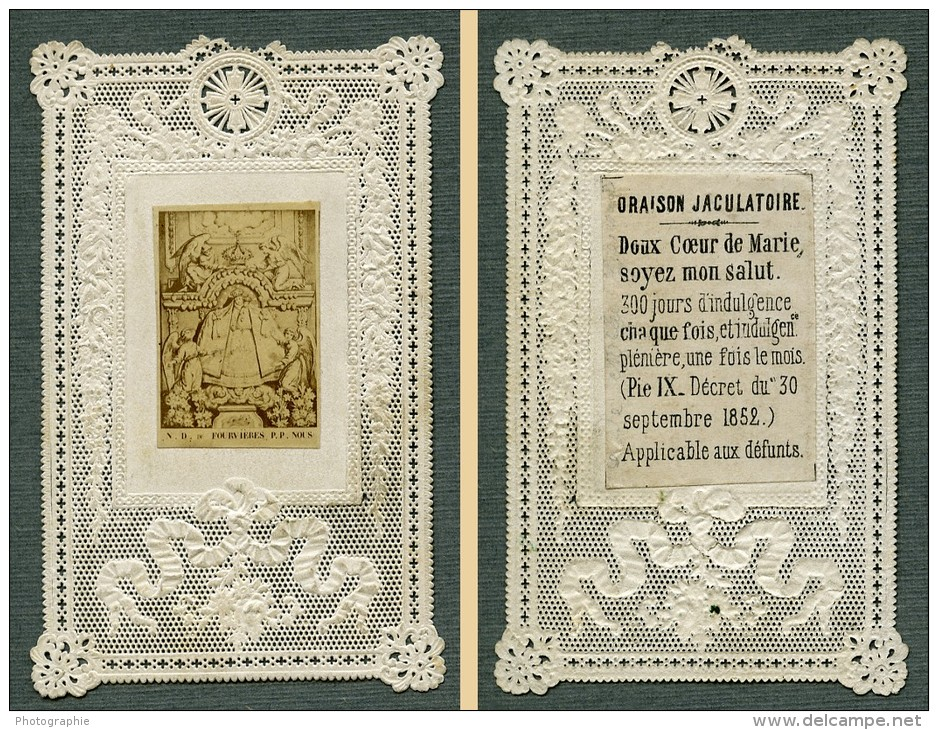 France Religion Image Pieuse Canivet ND De Fourvieres Photo Albumine Sur Papier Dentelle 1870's - Devotion Images