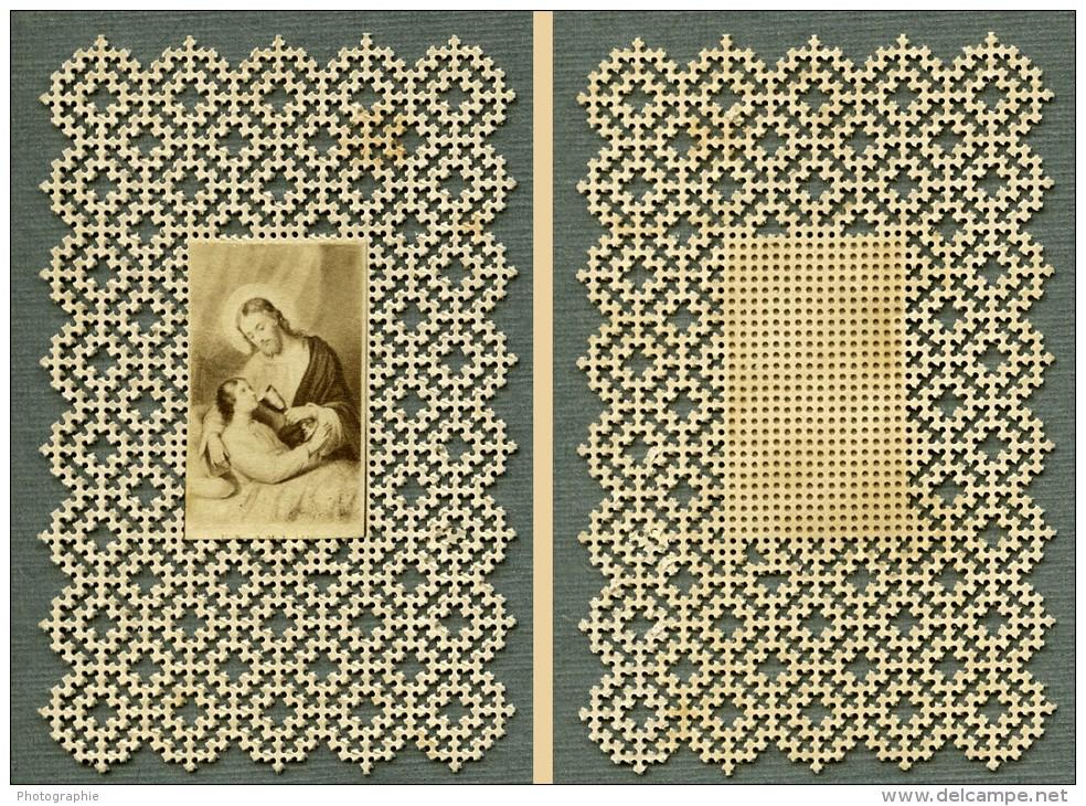 France Religion Image Pieuse Canivet Photo Albumine Sur Papier Dentelle 1870's - Devotion Images