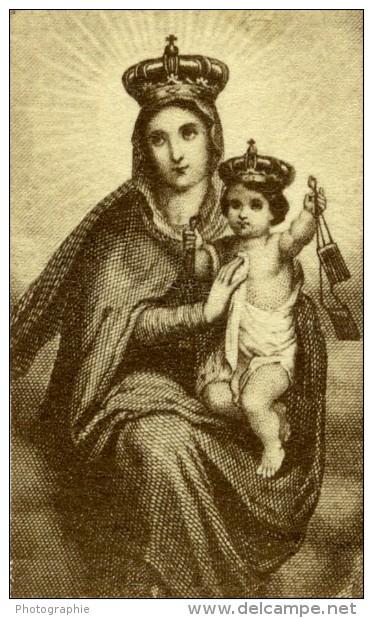 France Religion Image Pieuse Canivet Vierge Marie Et Jesus Photo Albumine Sur Papier Dentelle 1870's - Devotion Images
