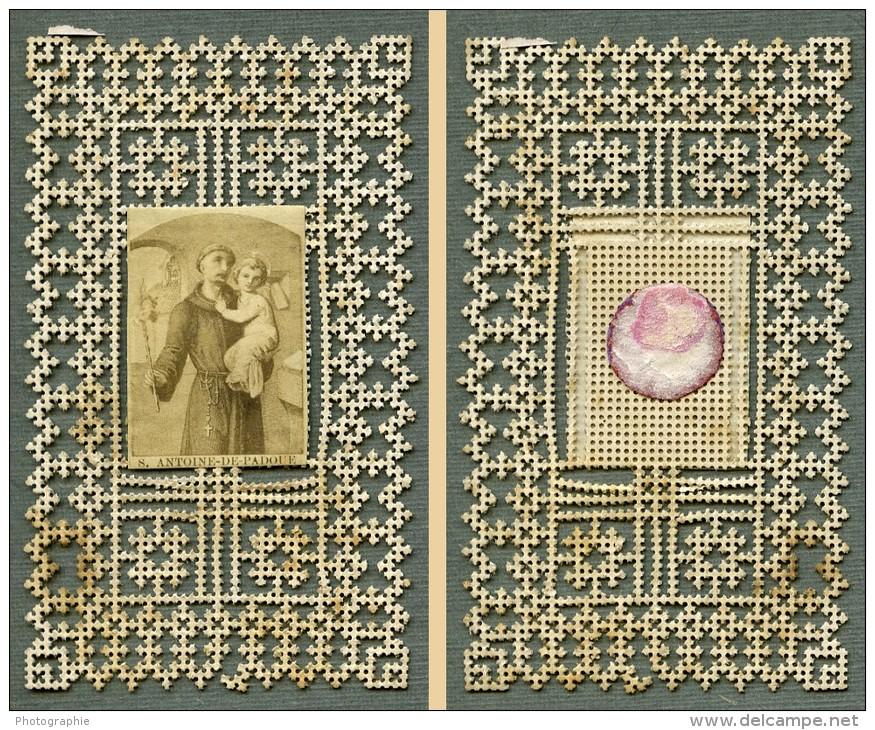 France Religion Image Pieuse Canivet St Antoine De Padoue Photo Albumine Sur Papier Dentelle 1870's - Devotion Images