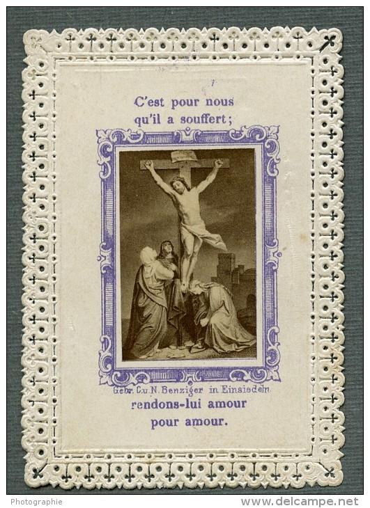 France Religion Image Pieuse Canivet Photo Albumine Sur Papier Dentelle Benziger 1880 - Devotion Images