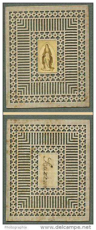 France Religion Image Pieuse Canivet Vierge Photo Albumine Sur Papier Dentelle 1870's - Devotion Images